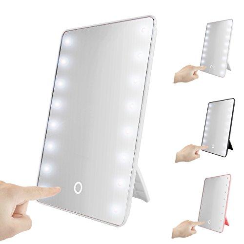 TOUCH-plegable-con-luz-LED-espejo-con-luz-oenbopo-Smart-Touch-funcin-atril-16-LED-iluminado-espejo-de-maquillaje-espejo-de-mesa-encimera-inalmbrico-para-el-hogar-oficina-de-viajes