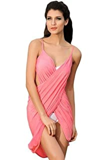 f2190a4a4b6f Boolavard Femmes Strap Backless Col V Profond Plage Cover Bikini Beach  Dress Up