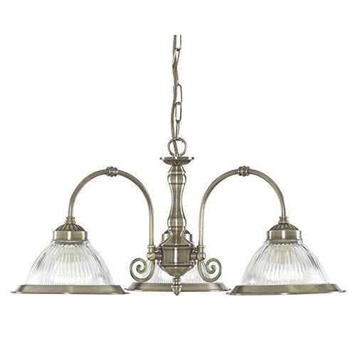 Laiton vieilli Style Diner américain et transparent Verre strié 3 x 60 W Bc lampes