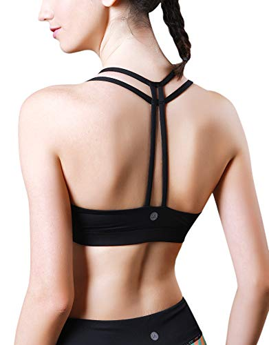 QUEENIEKE Sostén de Yoga sin Forro Ligero Soporte de Doble-T para Mujeres Color Negro Tamaño XL