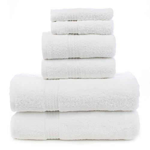 Bare Cotton Eco Baumwolle Sechs Stück Handtuch Set-Weiß-Dobby Bordüre-Set von 6, Baumwolle, weiß, Six Piece Eco Towel Set - Badewanne Bettwäsche-sets
