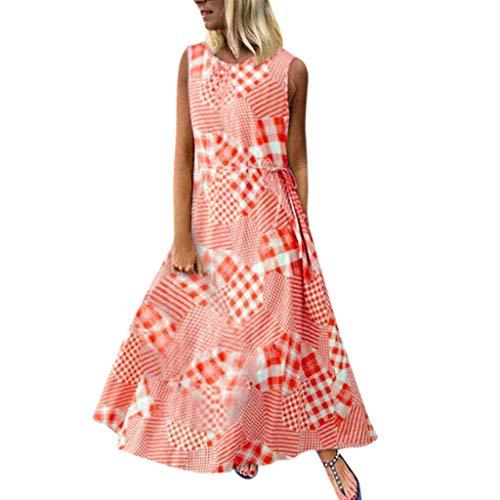 GreatestPAK Sommer Maxikleid Damen Vintage Druck Patchwork O-Ausschnitt Ärmellos Baumwolle Leinen Lose Trägerkleid Übergröße,Rot,Tag:2XL