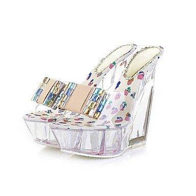 RTRY Donna Pantofole E Flip-Flops Primavera Estate Autunno Pu Abito Casual Party & Sera Crystal Tacco Tacco Traslucido Bowknotblack Essere US5.5 / EU36 / UK3.5 / CN35