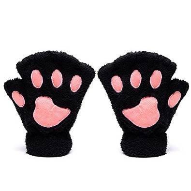 Mitones Katomi para otoño e invierno con diseño en forma de garra de oso y de gato, gruesos y de abrigo Negro negro Tamaño libre