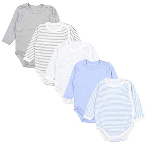 TupTam Baby Unisex Langarm Wickelbody Print/Uni 5er Pack, Farbe: Junge 1, Größe: 68 -