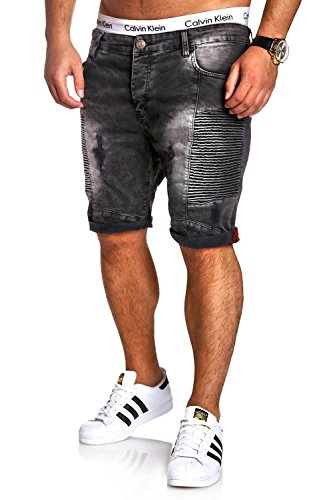 MT Styles Biker Jeans-Bermuda Shorts RJ-2285 [Dunkelgrau, W34] (Denim Bermuda Shorts Jean)