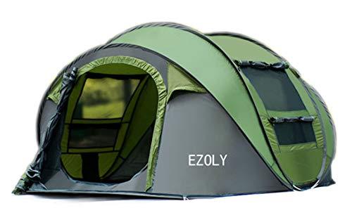 EZOLY 4 Personen automatische Pop up Zelt wasserdicht 2 Sekunden einfach einzurichten und zu Falten Shelter, grün (290 * 200 * 130CM)