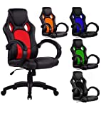 SPS-Racing - Sedia da gioco girevole, sedia da ufficio dal design esclusivo in stile sportivo Black/Red