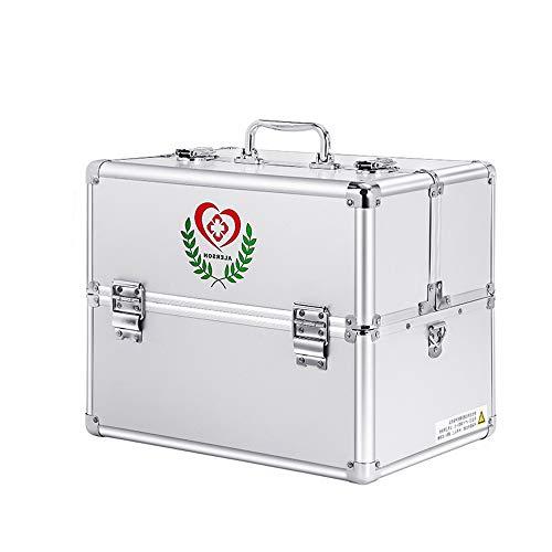 Youngshion Portable Croix épaule pliable Multi couches Boîte de secours d'urgence Médecine Coque avec verrouillage de sécurité enfant pour maison Voyage lieu de travail 14-inch/ 3 Layers Silver