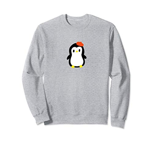 Cute Little Penguin with Red Beret Graphic Sweatshirt Pullover Beret