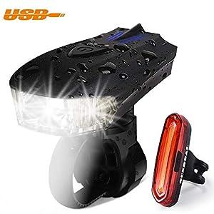 41vjcXiFX7L. SS300 OUNDEAL Luci Bicicletta LED Set LED Bici Luce Ricaricabile USB Impermeabile Set con 4 modalità Bicicletta Luce Anteriore…