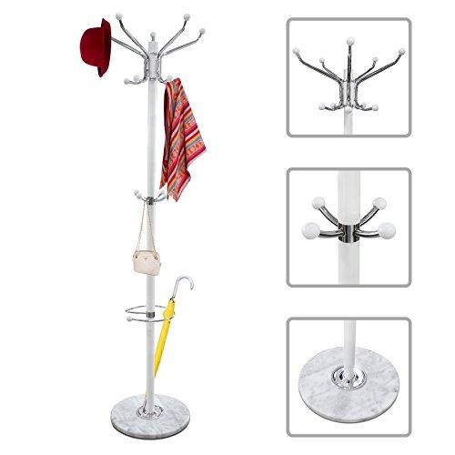 Garderobenständer mit Mamorfuß - Garderobenständer mit Schirmständer und Haken in Höhe Ihrer Kinder - Weiß