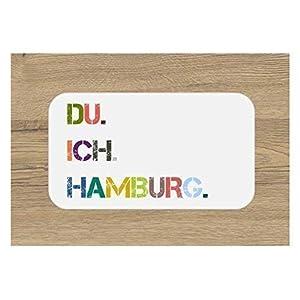 DU. ICH. HAMBURG. Frühstücksbrettchen | Brettchen | Schneidebrett | 23 x 14 cm | mit Spruch | bunt | Geschenk | Ostern | Geburtstag | Einzug | Muttertag