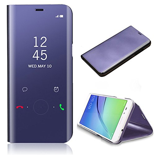 für Samsung Galaxy Note 8 Hybrid Spiegel + PC Hülle, CrazyLemon Ultra Dünn Leicht PU Leder Folio Flip Cover mit Intelligent Galvanisiert Klar Aussicht Spiegel Automatischer Schlaf Aufwachen Funktion Handyhülle für Galaxy Note 8 - Lila