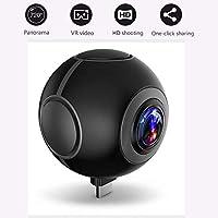 Mini cámaras de vídeo VR, cámara de acción de vídeo de 360 grados, mini DVR grabador HD panorama cámara deporte conducción VR cámara en tiempo real transmisión en vivo smartphone Android, negro