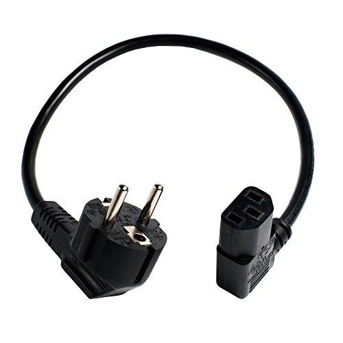 40 cm kurzes Stromkabel/Netzkabel für Kaltgeräte. Schutzkontaktstecker und Kaltgerätebuchse gewinkelt. -