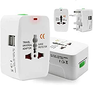 TECH SHOP Universal Adapter Worldwide Travel Adapter with Built in Dual USB Charger Ports (White)