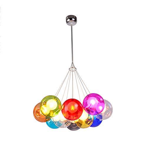 Modern Pendelleuchte Höhenverstellbar Pendellampe Kristall Hängelampe Bunt Glas Hängeleuchte mit für Kinderzimmer Wohnzimmer Kronleuchter, Inklusiv Glühbirne,10Kopf -