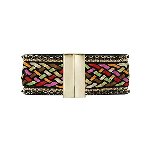 Bracelet Manchette Tressage Satiné - Fermoir Magnetique - Couleur au Choix Multicolore