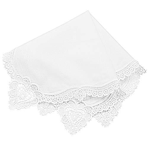 Milesky Damen Taschentuch mit Häkelspitze Weiß 100% Baumwolle Größe 30x30cm (CH09)
