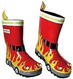 3-D Gummistiefel Naturkautschuk - Feuerwehr - Gr. 26 - Kinder / Regenstiefel Matschstiefel Auto Feuerwehrauto