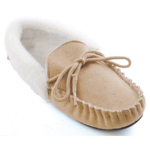 Universaltextilien Damen Hausschuhe/Pantoffeln mit Kunstpelz und Schnürband (EUR 41) (Beige)