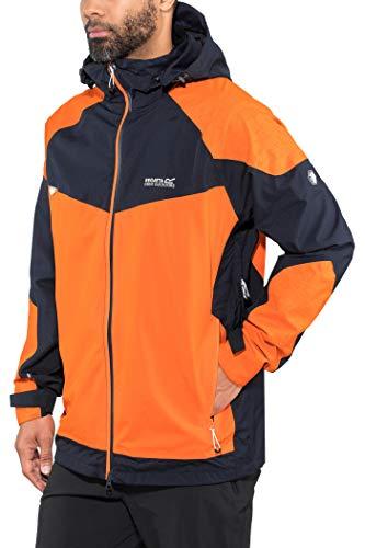 Regatta Herren Oklahoma IV Waterproof and Breathable Active Performance Reflective Hiking Shell Jacke, Navy/Blaze Orange, XXL Performance Shell Jacke