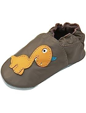 Lappa.de - Zapatillas de piel para niños (suela de ante, tallas de la 19 a la 31), diseño de dinosaurio