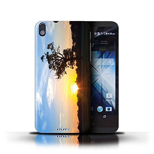 Kobalt® Imprimé Etui / Coque pour HTC Desire 816 / bateaux conception / Série Coucher du Soleil Bleu Chêne