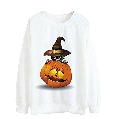 VEMOW Damen Frauen Halloween Lose Kürbis Casual Täglichen Party Tops Langarm Bluse Pulli(Weiß, EU-40/CN-L)