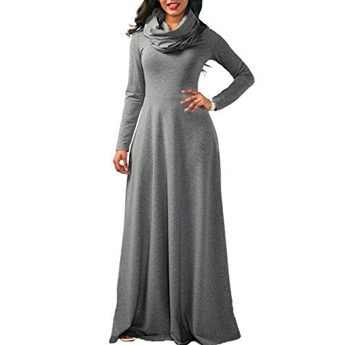 Kleider , Frashing Damen Beiläufige Lose Kleid Fest Langarm Boho Lang Maxi Kleid Schal Kragen langes Hülsen Kleid (S, Grau) (Schal Lange Kragen)
