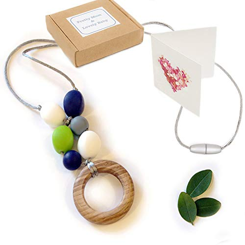 Coupon Matrix - 'Oak Ring' New Teething Necklace, Gift Box & Greeting Card; Natural Organic Oak Wood & Silicone Beads Jewellery