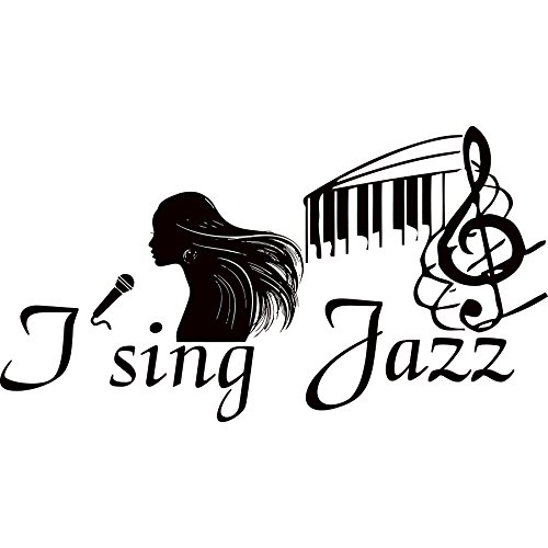 Wandaufkleber Ich sing Jazz Zitat Aufkleber Vinyl Sticker Mikrofon Violinschlüssel Noten Mädchen Musik Schule Studio Home Decor Schlafzimmer Art Wandmalereien mn231