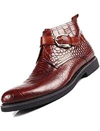 1236423672 Botas De Cuero para Hombre Zapatos Altos Botas Cortas De Negocios  Puntiagudas Respirables Caballero Marrón Negro