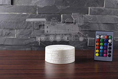 Luce Notturna 3D Illusione Ottica Led Lampada Trenino Interruttore Tattile Cambio 7 Colori Lampada Da Letto Per Camera Da Letto Per Bambini, Regali Per Feste Di Compleanno Per Bambini
