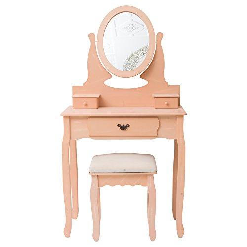 Mobili Rebecca® Table de Maquillage Coiffeuse Bois 3 Tiroirs Rose Design Romantique Salon Chambre a Coucher (Cod. RE4795)