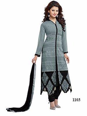 Jil Creation Women's Faux Crepe Salwar Suit, Grey