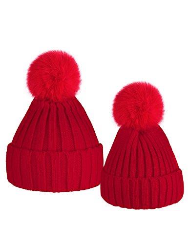 Pom Mit Rote Beanie (ISASSY Damen / Kinder Mütze Junge Mädchen Baby Beanie Winter Strickmütze mit Bommel Pom Pom)