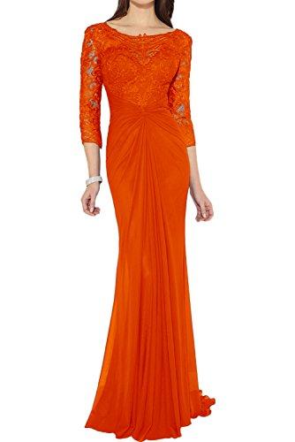 Ivydressing Damen Elegant lang Etui Rundkragen 3/4 Arm Chiffon Spitze Applikation Falte Brautmutterkleid Abendkleid Partykleid Orange