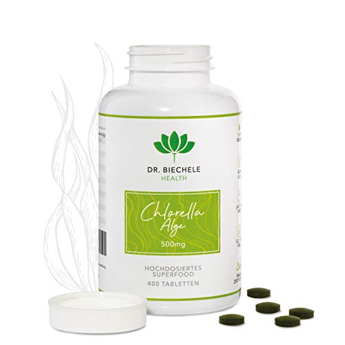 Dr. Biechele Chlorella Alge I 400 x 500 mg hochwertige Algen-Presslinge I Chlorella Algen Tabletten aus Deutschland I Nahrungsergänzung Entgiftung, bei Eisenmangel, Fastenkur & Ernährungsumstellung