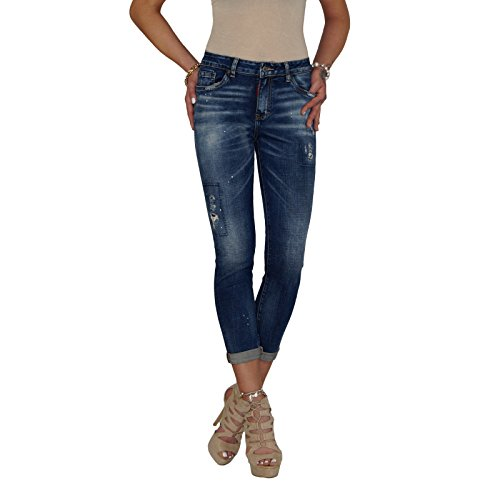 DB Damen Stretch 7/8 tel High Waist Röhrenjeans mit Farbklecksen und Patchwork Details in blau bis Übergröße (XXL / 44, Blau) (Blaue Jeans-patchwork)