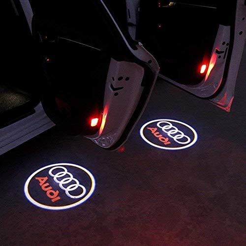 Soondar 2 Stück Universal Wireless Auto Projektion LED Projektor Türschattenlicht Willkommen Licht Laser Emblem Logo Lampen Kit ohne Bohren (Audi)