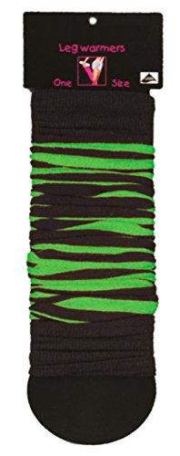 (krautwear® Damen Beinwärmer Arm Stulpen Legwarmers Geringelt Einfarbig Gestrickte Strümpfe 80er 90er Jahre 1980er Jahre Pink Lila Grün Schwarz Weiss Braun (schwarz-grün))