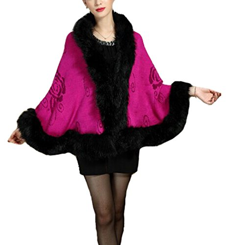 PLAER aux femmes Faux Fox Fur Châle Cape manteau cape Manteau-tricot - rosy Red