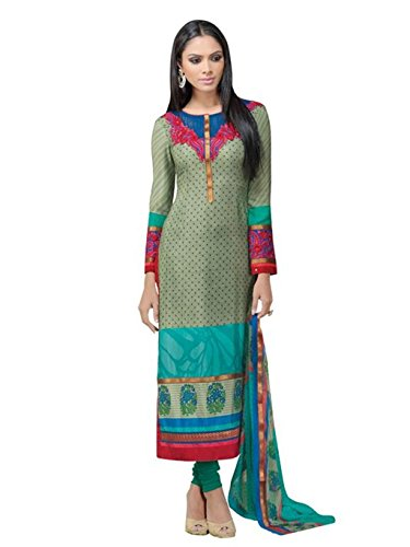 crazy bachat Indian Designer Salwar Suits Frech Crape Gray Color Semi Stitched Dress