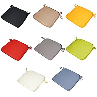 6 x Padded Seat Cushions - Plain Design 38x38x2cm - The Turin Range - Different Colours - With ties - low-cost UK light shop.