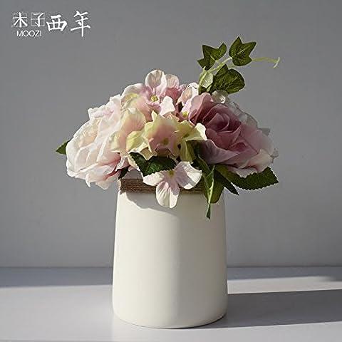 Beata. F Japanische Kunst einfach MA Sheng weiß Wohnzimmer Dekoration Home Wasser Kultur Creative Dekorative Blume Keramik Vase Ornament.