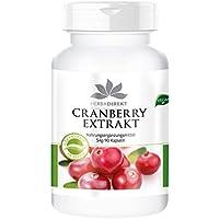 Herbadirekt Gélules de Canneberge Poudre de jus de Cranberry (canneberge) (5:1), Substance pure sans additifs. 90 gélules, végétarien, 1 flacon (1x47g)
