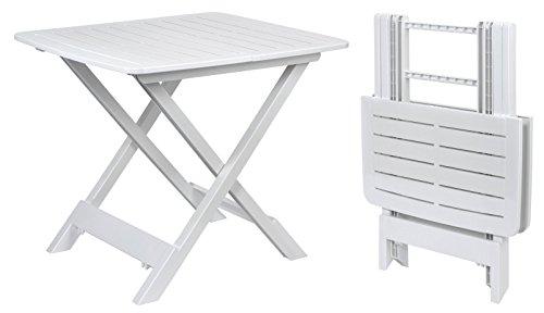 Klapptisch TEVERE in weiß - 80x72x70 cm - Garten- oder Campingtisch - ideal als Beistelltisch - Kunststoff Breite Klapptisch