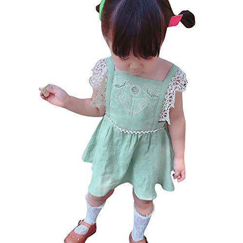 feiXIANG Baby-Mädchen Kleid Princess Dress Schulterfrei Stickerei Strap T-Shirt Freizeitkleidung Kid Girls Minikleid für 1-4 ()
